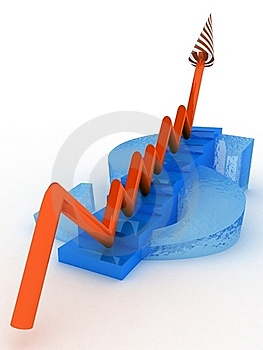 Sign Dollar With Steps And Arrow Grow Royalty Free Stock Photo - Image: 19198945