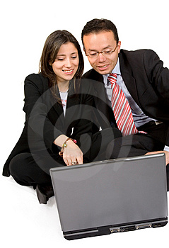 Business couple with laptop Stock Image