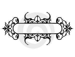 Struttura nera con la decorazione floreale, illustrazione di vettore Immagini Stock