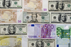 Euro And Dollar Background Stock Photography - Image: 1928952