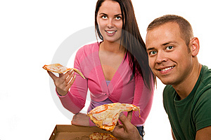 Friends Having Fun And Eating Pizza Stock Image - Image: 19200011