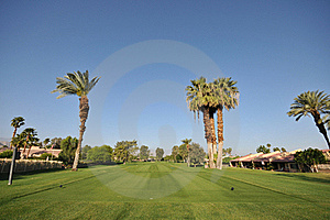Golf Green With Flag In Hole Stock Image - Image: 19203381