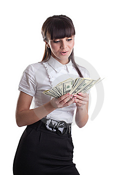 Happy Wonder Business Girl Count Dollars Royalty Free Stock Photos - Image: 19203578