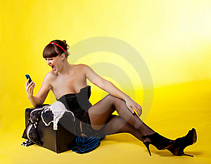 Anger Woman Lost Broken Baggage Scream On Cell Stock Photo - Image: 19203590