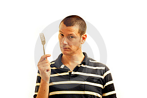 Man Holds Fork - Symbol Of Potential Stock Photography - Image: 19213262