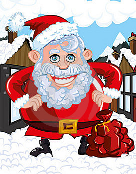 Cartoon Santa With A White Beard Stock Image - Image: 19213991