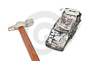 Smashed With A Hammer Mobile Phone Stock Photography - Image: 19214892