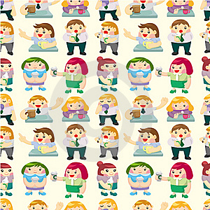 Seamless Office Worker Tea Time Pattern Stock Photo - Image: 19217330