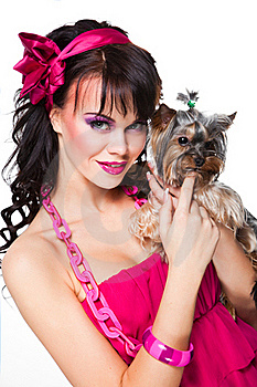 Girl Wearing Pink Holding Small Dog On White Royalty Free Stock Photo - Image: 19217675