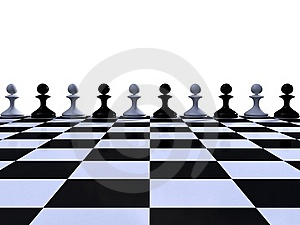 Rank Of Black And White Pawns Royalty Free Stock Photo - Image: 19218705