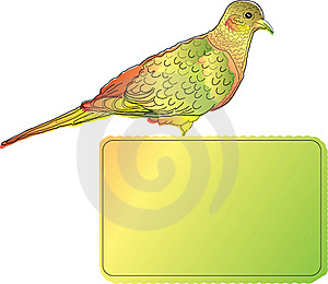 Bright Bird With Blank Banner Stock Photo - Image: 19220710
