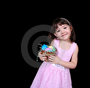 Sweet Girl Holding Basket Of Bright Easter Stock Photos - Image: 19221603