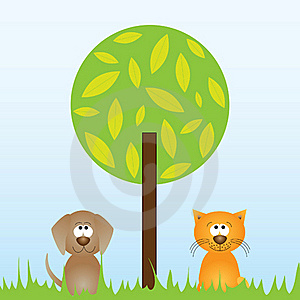 Cat And Dog Sitting Underneath A Tree Stock Photo - Image: 19224590