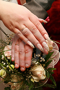 Just Married - Holding Hands Stock Images - Image: 19228884