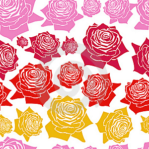 Seamless  Pattern Line Roses Royalty Free Stock Photography - Image: 19229367