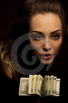 Female Face With Fan Of Dollars Royalty Free Stock Photos - Image: 19229498