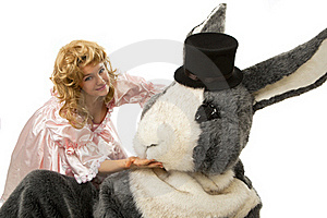 Pretty Girl With A Big Grey Rabbit Stock Photography - Image: 19229532