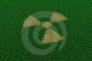 Radiation Symbol From Thatch On Green Grass Stock Photo - Image: 19229970