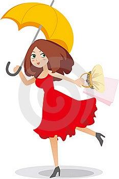 Shopping Girl Holding Umbrella Royalty Free Stock Photography - Image: 19230487