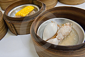 Squid Dimsum In Bamboo Container Closed Up Stock Photography - Image: 19235122