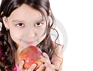 Pretty Girl With Apple Royalty Free Stock Photography - Image: 19238567