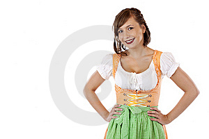 Young  Bavarian Woman In Oktoberfest Dirndl Stock Photos - Image: 19243023
