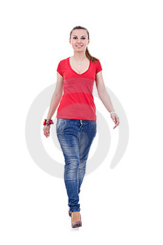 Casual Woman Walking Royalty Free Stock Photos - Image: 19243768