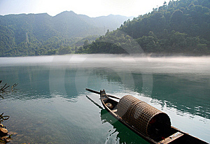 Boat In The Morning River Royalty Free Stock Images - Image: 19245159