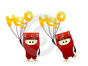 Cute Hello Character With Balloon Vector Royalty Free Stock Photo - Image: 19245535