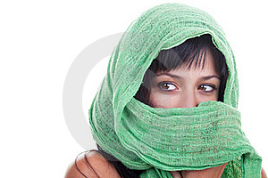 Woman With A Green Shawl Royalty Free Stock Photos - Image: 19251528