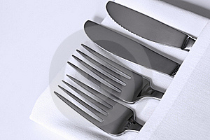 Cutlery And White Linen Stock Photography - Image: 19251952