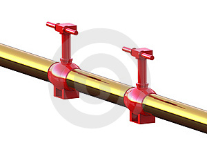 Two Red Oil And Gas Valve Royalty Free Stock Image - Image: 19252306