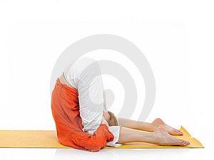 Series Or Yoga Photos.young Woman In Halasana Pose Stock Photos - Image: 19253813