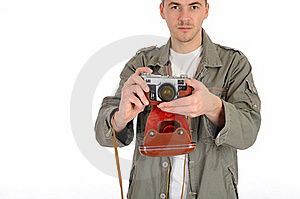 Professional Photographer With Film Camera Stock Image - Image: 19254011