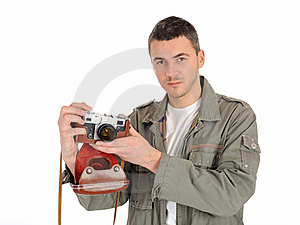 Professional Photographer With Film Camera Royalty Free Stock Images - Image: 19254019