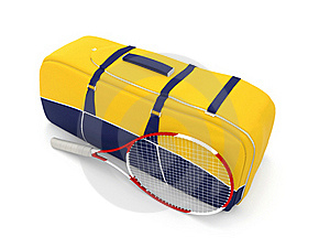 Saco E Raquete Amarelos Do Tênis Imagens de Stock - Imagem: 19254474