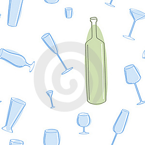 Seamless Of Blue Glass And Green Bottle. Royalty Free Stock Photography - Image: 19254807