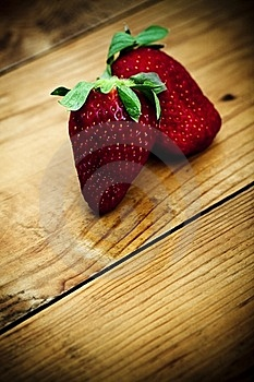 Strawberries On A Wooden Table Stock Photo - Image: 19267970