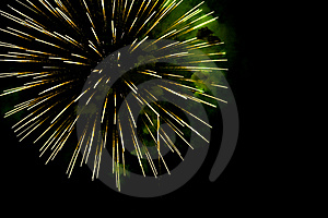 A Burst Of  Green  Fireworks Against A Night Sky Stock Photography - Image: 19269452