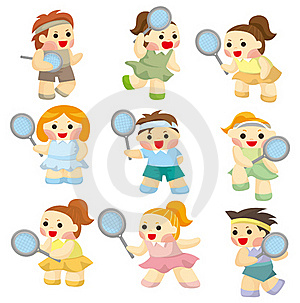 Cartoon Tennis Players Icon Royalty Free Stock Photo - Image: 19270405