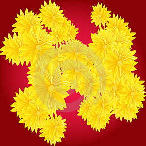 Yellow Flowers On Red Background Royalty Free Stock Photo - Image: 19272535
