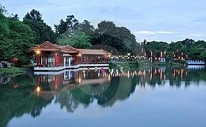 Chinese Park At Dusk Royalty Free Stock Image - Image: 19274596