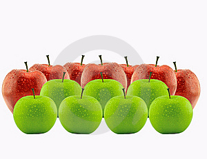 Red Apple Between Green Apples Royalty Free Stock Images - Image: 19280049