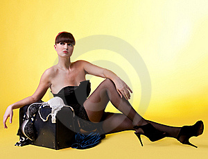 Sexy Woman With Broken Baggage Royalty Free Stock Image - Image: 19282646