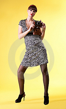 Pretty Woman With Old-style Photo Camera Royalty Free Stock Photography - Image: 19282657