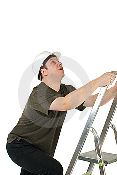 Worker Climbing Upwards Upon Ladder Royalty Free Stock Image - Image: 19289036