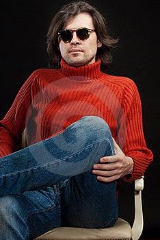 Long Hair Man Wearing Sunglasses Stock Photo - Image: 19289050
