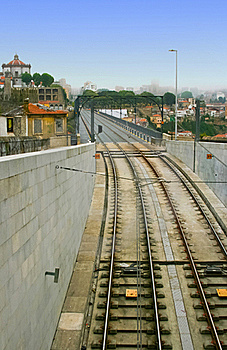Railway At Dom Luis Bridge In Porto, Portugal Stock Photo - Image: 19291920