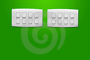 White Light Switch On Green Wall. Stock Photos - Image: 19294863