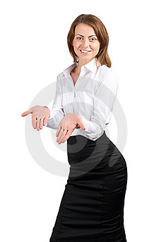 Businesswoman Showing Something On Her Palms Stock Images - Image: 19295174